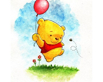Pooh Inspired Watercolor Print