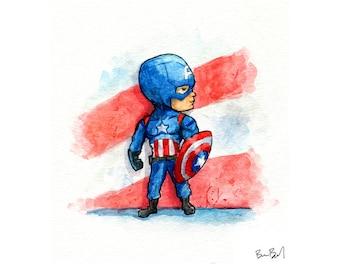 Captain America Watercolor Print 4x6 or 9x12