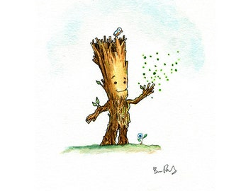 I Am Groot Watercolor Print