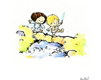 Luke & Leia Inspired by Calvin and Hobbes Watercolor Print