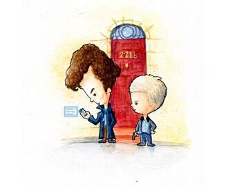 Sherlock and Watson Watercolor Print