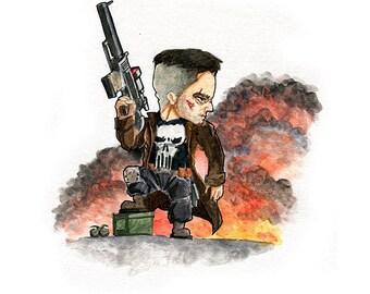 The Punisher Fan Art Watercolor Print