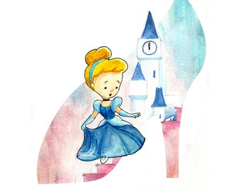 Cinderella and the Glass Slipper Watercolor