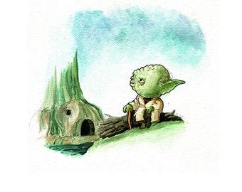 Little Yoda Watercolor Print