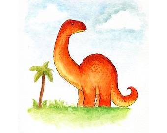 Apatosaurus Dinosaur Watercolor