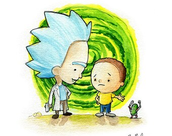 Rick and Morty Fan Art Watercolor Print