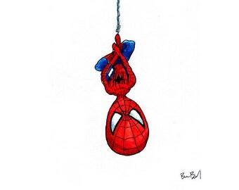 Spiderman hangs from his web Watercolor Print