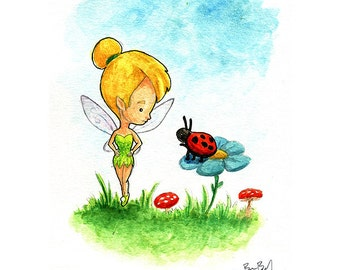 Tinkerbell makes a new friend Watercolor Print