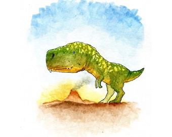 T-Rex Dinosaur Watercolor