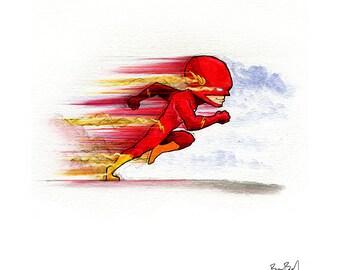The Flash - Barry Allen Watercolor Print