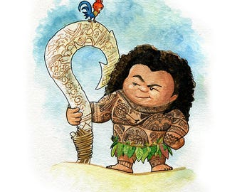 Maui Fan Art Watercolor Print