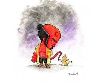 Hellboy and Friend Watercolor Print