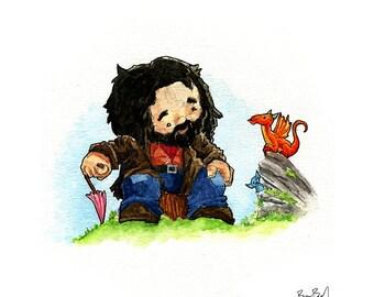 Hagrid and his new dragon watercolor print
