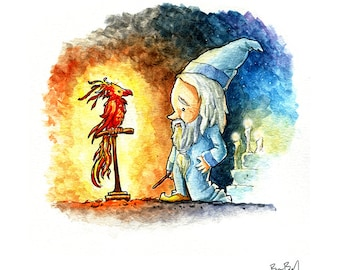 Dumbledore and Fawkes Watercolor Print