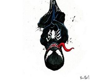 Venom Inspired Watercolor Print