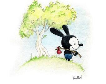 Oswald the Lucky Rabbit Fan Art Watercolor Print