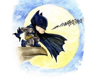 Batman the Dark Knight Watercolor Painting Print