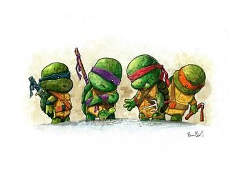 Teenage Mutant Ninja Turtles Watercolor Print