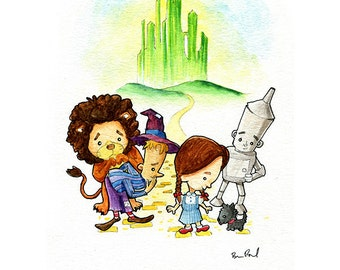 The Wizard of Oz, Dorthy, Tin Man, Cowardly Lion, and Scarecrow and Toto Watercolor Print