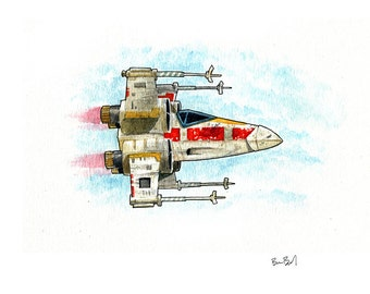 X-Wing Fighter Watercolor Print