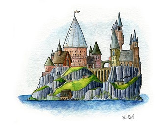 Little Wizarding School Watercolor Print