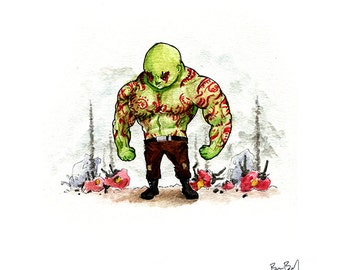 Drax the Destroyer Watercolor Print