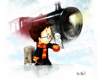 Harry Potter and Hedwig waiting for Hogwarts Express Watercolor Print