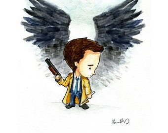 Castiel the Angel from Supernatural Watercolor Print