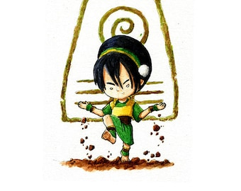 Toph from The Last Airbender - Watercolor Print