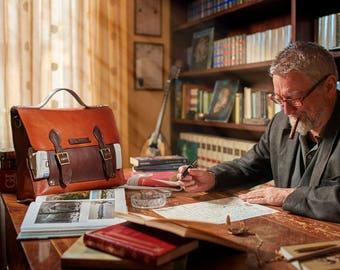 LEATHER BRIEFCASE, laptop bag, Professional messenger, Leather satchel