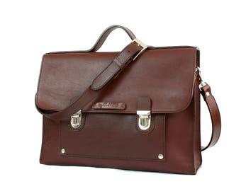 MEN'S LEATHER BRIEFCASE, Briefacases & attaches, Laptop bag, Full grain Leather bag