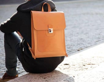 LAPTOP natural LEATHER BACKPACK, handmade in Italy
