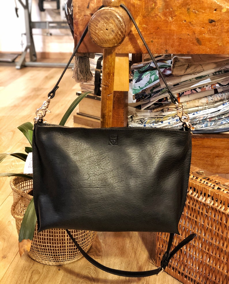 Handmade black LEATHER BAG for woman handmade in Italy image 0