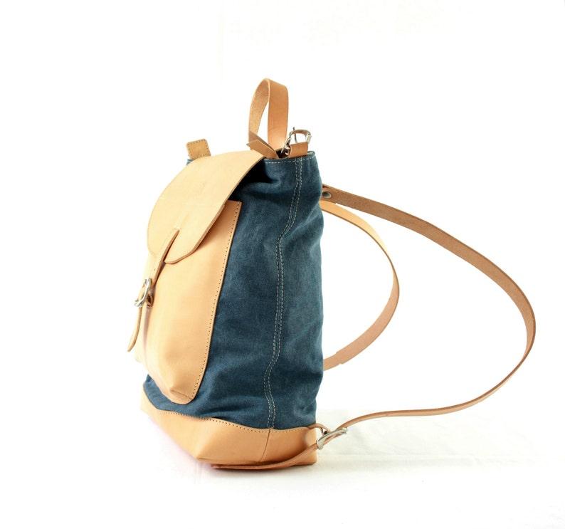Shoulder natural LEATHER BACKPACK purse 2 in 1 for her image 0