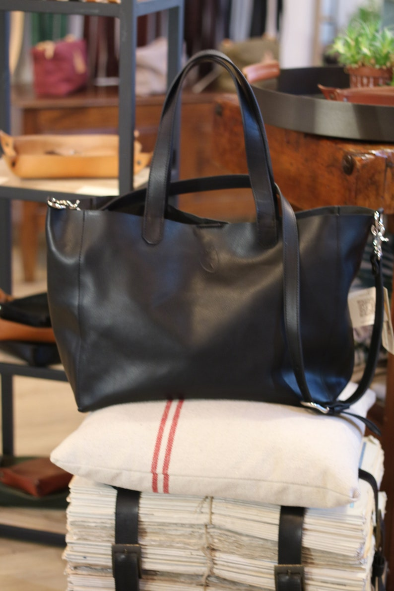BLACK LEATHER TOTE Oversize bag Large leather bag Bags and image 0