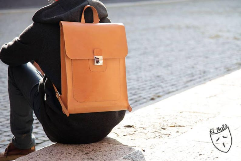 LAPTOP natural LEATHER BACKPACK handmade in Italy image 0