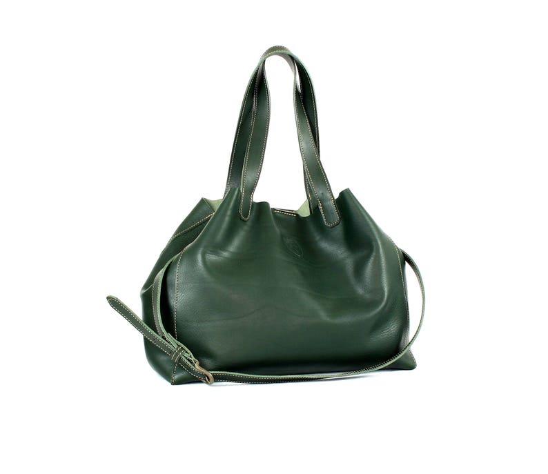 Monogram leather bag Green leather shoulder bag Tuscan image 0