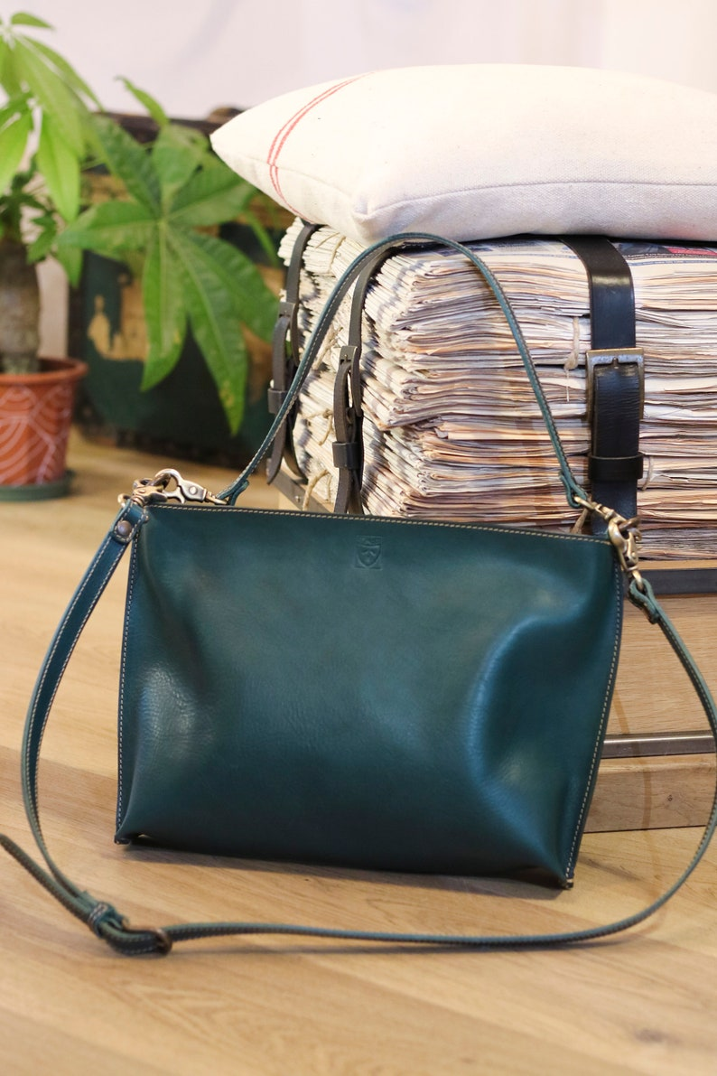 Handmade green LEATHER BAG for woman handmade in Italy image 0