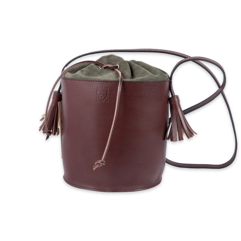 Dark brown LEATHER bucket BAG for Woman  Handmade in Italy image 0