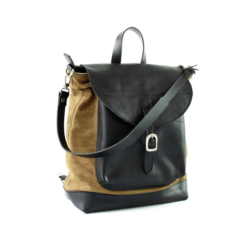 Woman backpack Leather bag Diaper black bag Shoulder bag Tote Leather Backpack 2 in 1 Bags and purses Crossbody bag Backpack purse