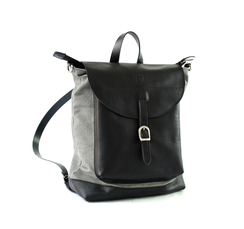 Black Leather Backpack 2 in 1 perfect gift for her image 0