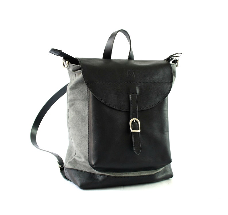 Black Leather Backpack 2 in 1 Gift for her Made in Italy image 0