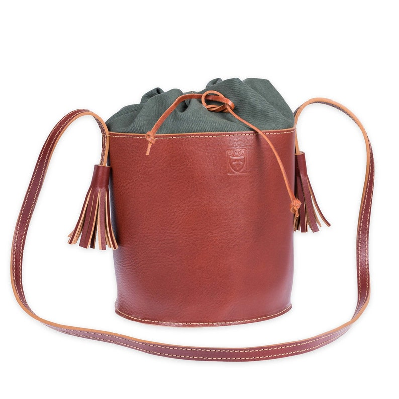 2cffd2e2eb3f Brown LEATHER BUCKET BAG Woman bag Crossbody bag Brown