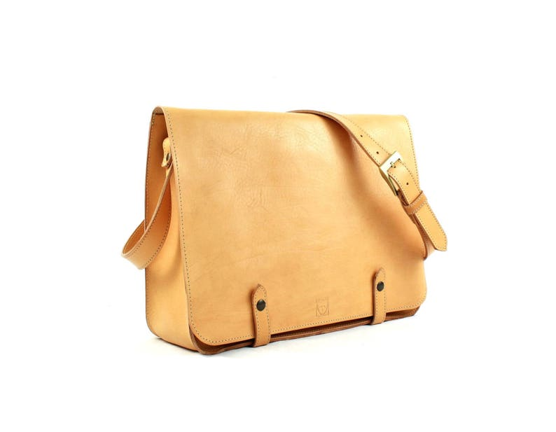 Tan LEATHER MESSENGER BAG image 0
