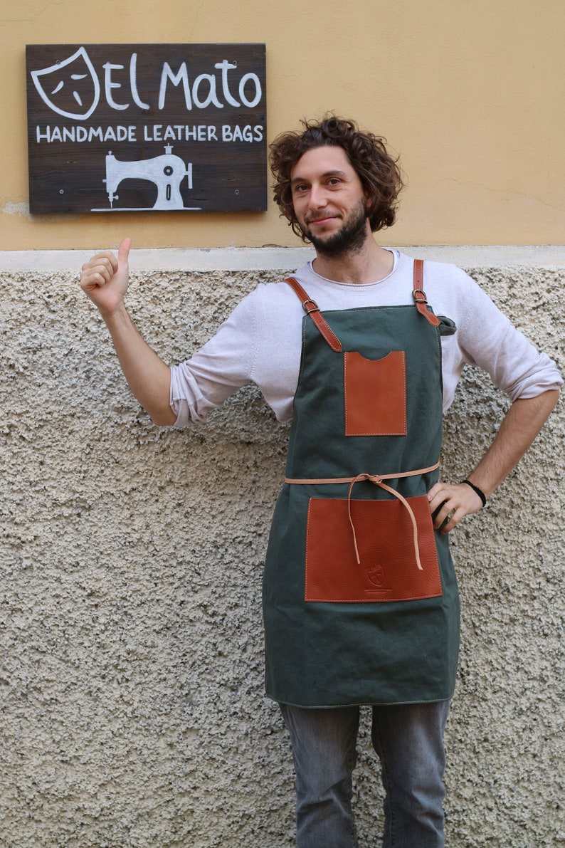 Handmade full grain LEATHER and CANVAS APRON image 0