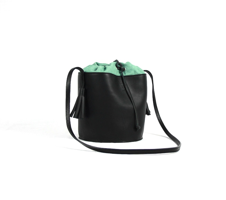 Black LEATHER BUCKET BAG for woman image 0