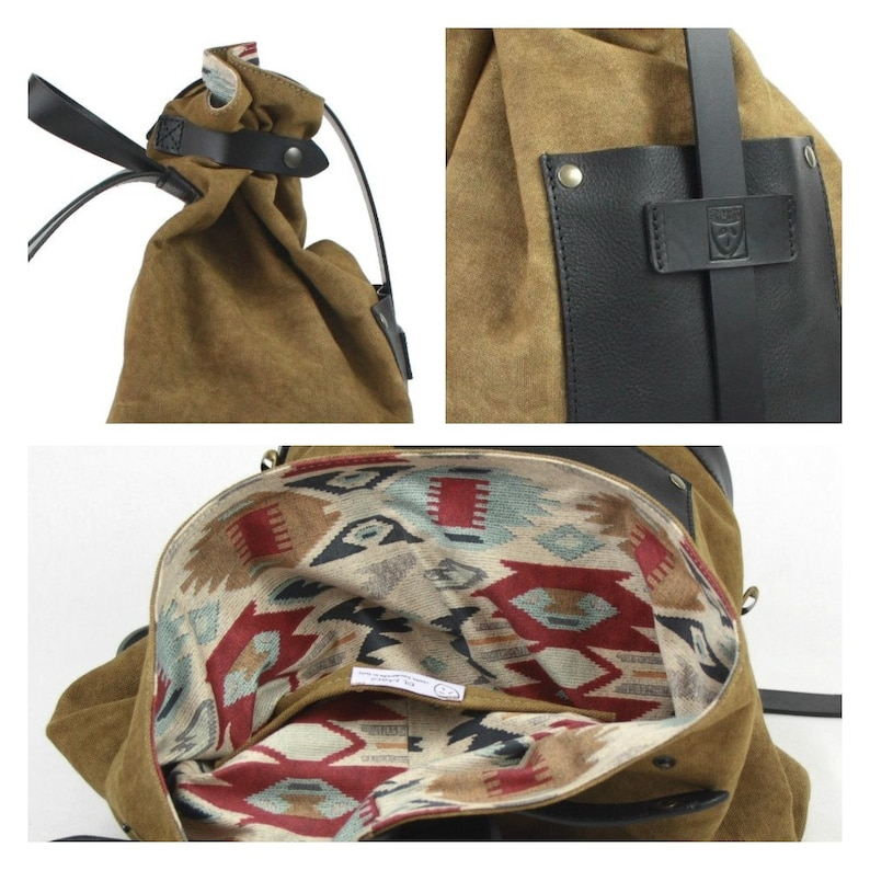 CUSTOM full grain LEATHER and mustard yellow canvas BACKPACK image 0