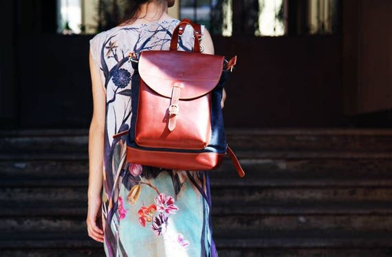 Woman LEATHER Backpack, Handmade in Italy