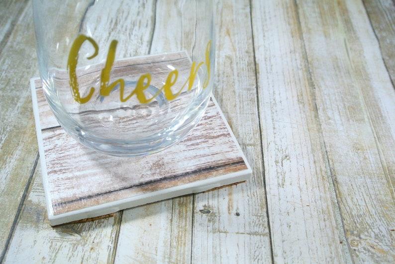 Set of 5 Whitewashed Wood Print Coasters