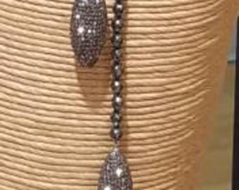Long Hematite Beaded Pave Crystal Lariat